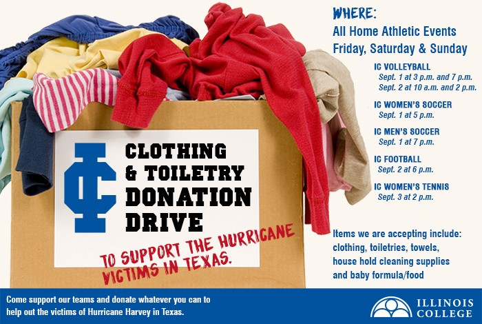 Illinois College To Host A Donation Drive For Hurricane Harvey